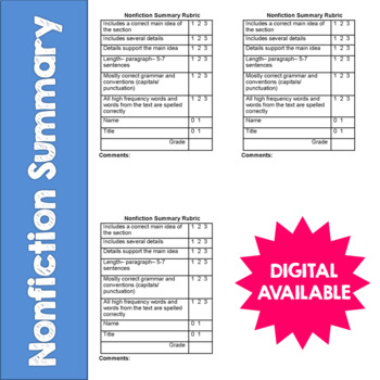 Nonfiction Summary- Reading Response Rubric- CCSS- 4th, 5th, 6th, 7th, 8th