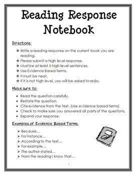 Reading Response Notebook : Fiction and Nonfiction Writing Prompts