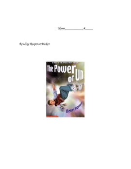 Reading Response Packet for Power of Un Novel