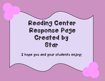 Reading Response Page