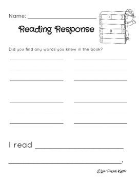 Reading Response Pages