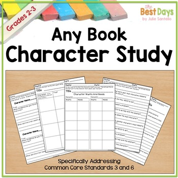Reading Response Pages:  Character Development Any Book Literacy Pages
