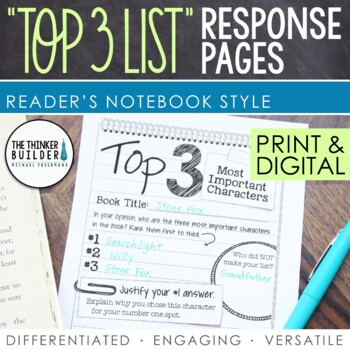 """Reading Response Pages: """"Top 3 Lists"""" Edition (Half-Page Format)"""