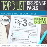 "Reading Response Pages: ""Top 3 Lists"" Edition (Half-Page Format)"