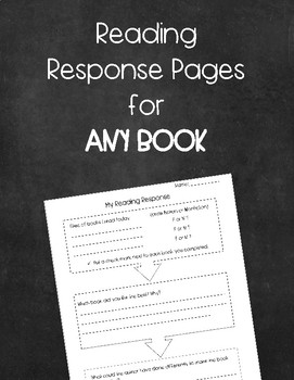 Reading Response Pages for ANY BOOK