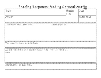 Reading Response Pages including Logs, Inferring, summarizing, Making Connection