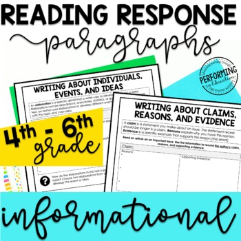 Reading Response Paragraphs: Editable Organizers For Informational Standards