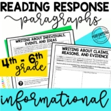 Reading Response Paragraphs: Editable Organizers For Infor