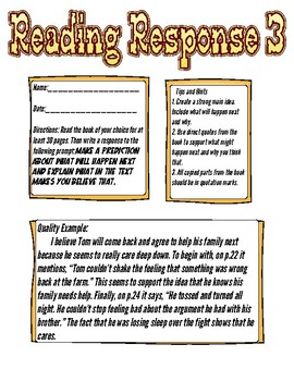 Reading Response: Predict what will happen next and how do you know?