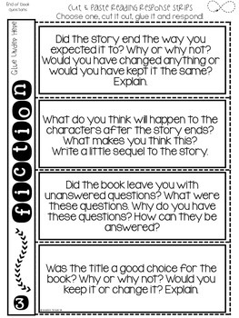 Reading Response Prompts - Cut and Glue Flips