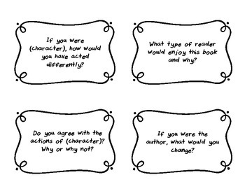 Reading Response Prompts - Thinking Questions