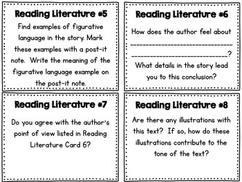 Reading Response Task Cards - 3rd -5th Grade (Reading Literature/ Informational)