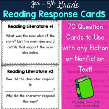 Reading Response Task Cards - 3rd -5th Grade (Reading Literature/ Informational)
