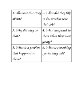 Reading Response Question Cards Retelling Biography Non Fiction