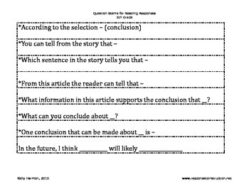 Reading Response Question Stems-Grades 4-8