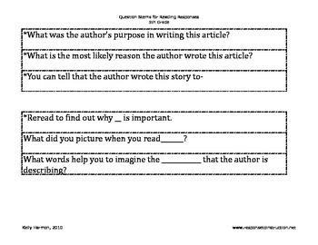Reading Response Question Stems-Grades 4-8