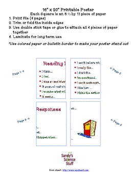 """Reading Response Questions 2 (16""""x20"""") Printable Poster"""