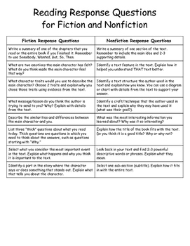 Reading Response Questions & Criteria