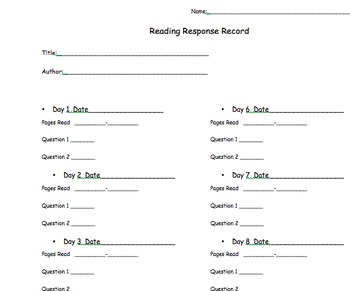 Reading Response Questions ELA