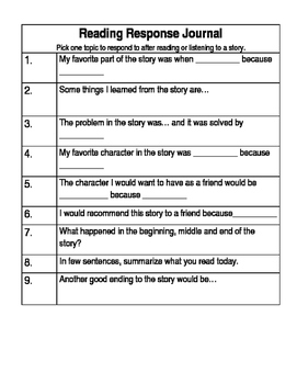 Reading Response Questions / Journal Entries