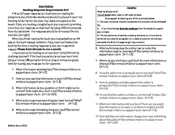 Reading Response Questions for Citing Textual Evidence