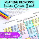 Reading Response Choice Board DIGITAL and PRINT Distance Learning