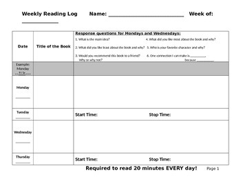 Reading Response - Reading Log Editable