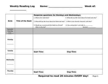 Reading Response - Reading Log Editable
