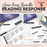 Reading Response Bundle | Editable Reading Task Cards & Homework Log | 5th GRADE