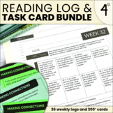 Reading Response Bundle | Editable Reading Task Cards & Homework Log | 4th GRADE
