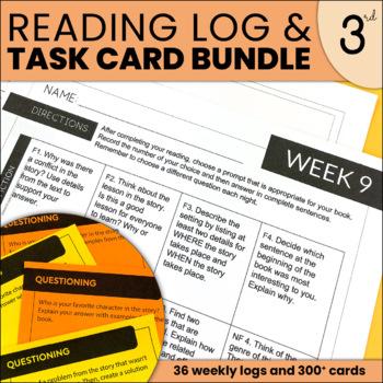 Reading Response Resource Bundle | Reading Response Cards and Log | THIRD GRADE