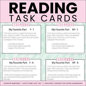 Reading Response Bundle: Homework Log, Task Cards, and Quick Assessment Checks