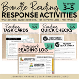 Reading Response Activities Reading Log | Task Cards | Quick Check Bundle