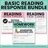Reading Response BUNDLE | Task Cards, Homework Log, Quick Checks