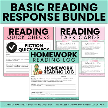 Reading Response Bundle: Homework Log, Task Cards, and Qui