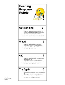 Reading Response Rubric Bookmark Common Core Friendly Language