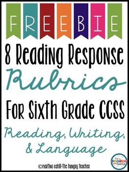 Reading Response Rubrics 6th Grade {Freebie}