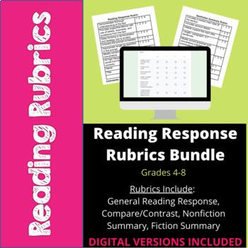 Reading Response Rubrics Bundle- Common Core- 4th, 5th, 6th, 7th, 8th