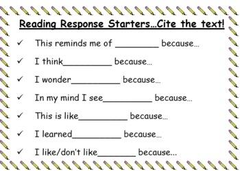 Reading Response Sentence Starters...