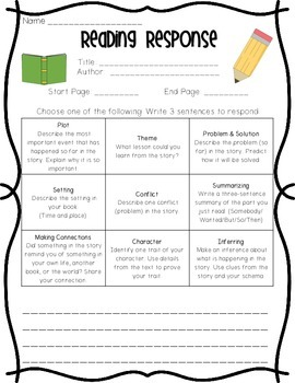 Reading Response Sheet