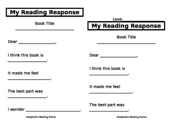 Reading Response Sheet for K, 1, and 2