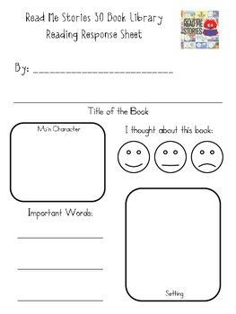 Reading Response Sheet for Read Me Stories 30 Book Library iPad app