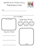 Reading Response Sheet for Read Me Stories 30 Book Library