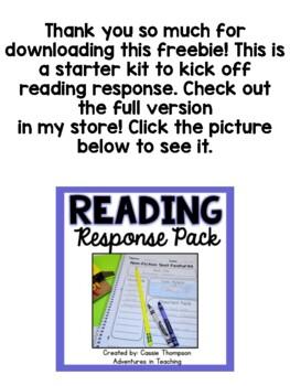 Reading Response Mini Pack- FREEBIE