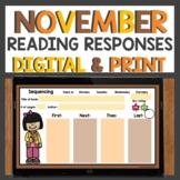 November Reading Response Sheets