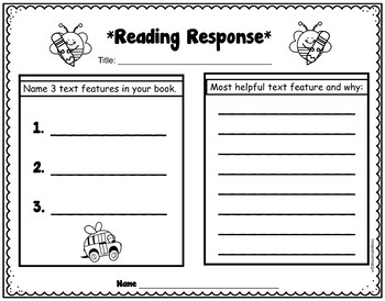 Reading Response and Listening Center Sheets (Bee Themed!)