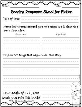 Reading Response Sheets (Fiction & Non-Fiction)