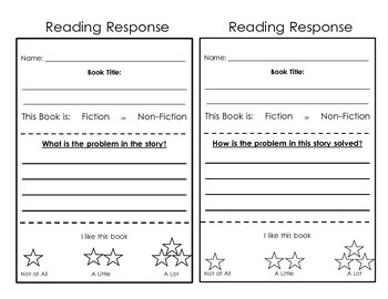 Reading Response Sheets:  For Independent Work
