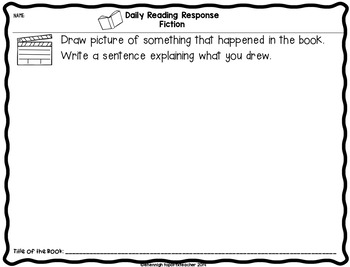 Reading Response Sheets Primary Grades: Kindergarten, 1st Grade, 2nd Grade