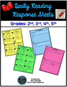Reading Response Sheets Upper Elementary Grades: 2nd, 3rd, 4th, 5th